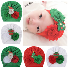 2019 Christmas Baby Hat Infant Boy and Girl Turban for Newborn Kids Winter Cap Child Green White Red Flowers Hats
