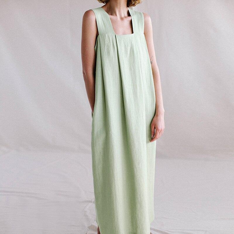 2021 женское хлопковое и льняное длинное платье с квадратным воротником, свободное летнее платье большого размера, однотонное платье без рук...