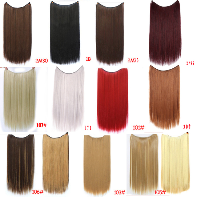 """Allaosify 24"""" Invisible Wire No Clips In Hair Extensions Secret Fish Line Hairpieces Synthetic Straight Wavy Hair Extensions"""