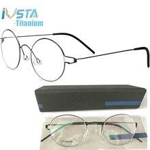 IVSTA gafas redondas de titanio para hombre y mujer, anteojos con caja de logotipo, graduadas, Marco óptico para miopía, diseño coreano, Dinamarca, 98607
