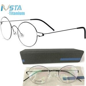 Image 1 - Ivsta眼鏡チタンメガネ男性 98607 とロゴボックス処方女性ラウンド近視光学フレームデンマーク韓国