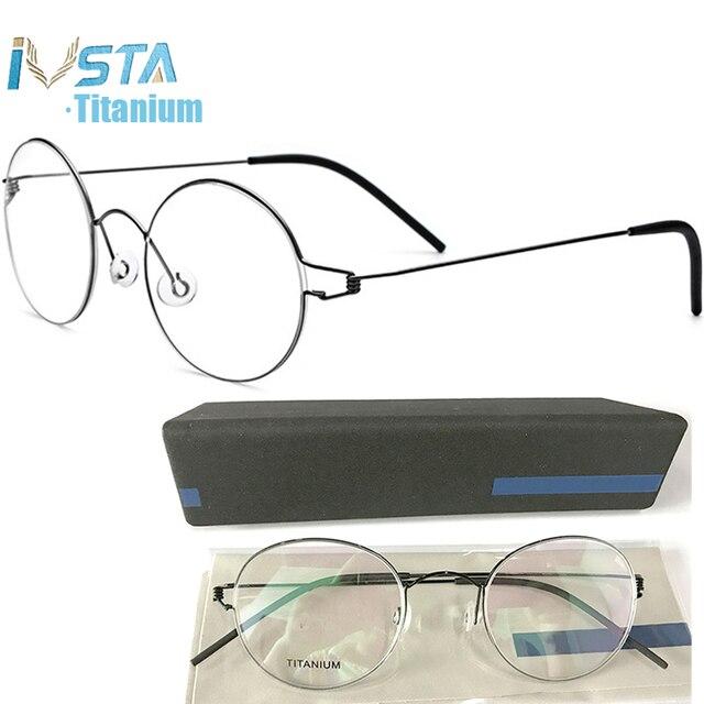 Ivsta眼鏡チタンメガネ男性 98607 とロゴボックス処方女性ラウンド近視光学フレームデンマーク韓国