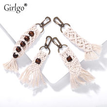 Girlgo Tassel Keychains for Women Boho key Holder Keyring Macrame Bag Charm Car Hanging Jewelry Gift for Friends Drop Shipping(China)