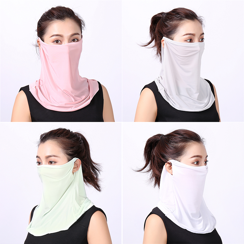 2020 Women Face Mask Scarf Solid Summer Sunscreen Ice Masks Outdoor Sports Sun Protection Driving Riding Scarves For Ladies