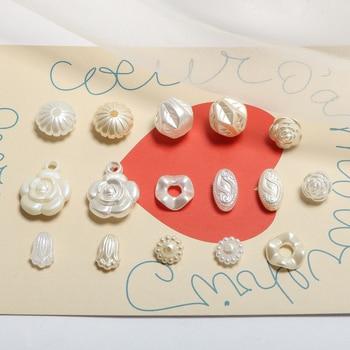 Retro embossed rose tulips imitation pearls acrylic beads DIY handmade jewelry making earrings accessories materials new retro hot acrylic beads imitation wood beads oval shape for handmade diy necklace bracelet jewelry accessories making