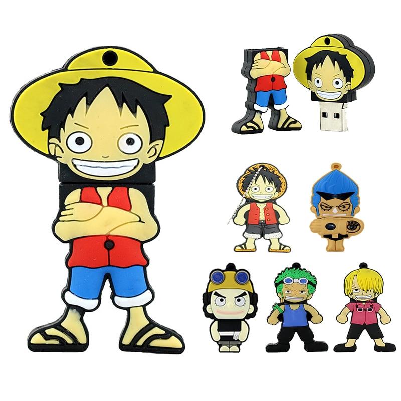 One Piece USB Pirate Luffy Flash Drive Pirate Mini Gift 4GB 8GB 32GB 128 64 256 Gb Pendrive 16GB Pen Drive USB Disk Memory Stick