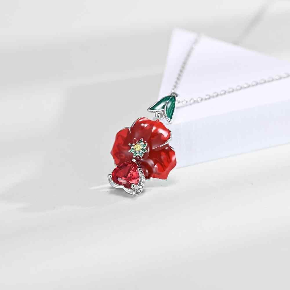 Cao Cấp Bạc 925 Tình Yêu Hoa Hồng Đỏ Men Mặt Dây Chuyền Bông Tai Vòng Cổ Trang Sức Phù Hợp Với