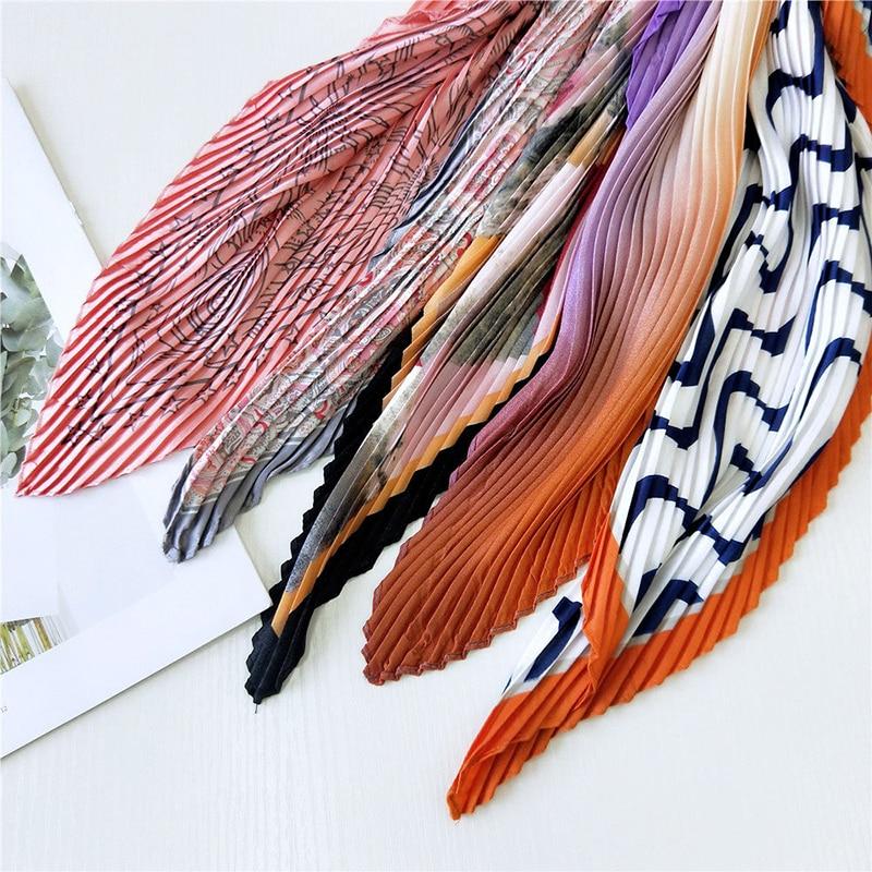 Pañuelo de seda cuadrado para mujer, pañuelo pequeño de satén, plisado
