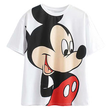 Disney Cartoon Cotton T-Shirt Women 2020 Summer Casual Mickey Mouse Daisy Duck Tshirt Women Vintage Streetwear Tee Tops T-Shirts
