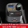 CDEN Bluetooth 5,0 FM передатчик автомобиля MP3 плеер U диска музыкальный плейер автомобиля приемник QC3.0 uUSB-C PD18W мобильный телефон с функцией быстрой з...