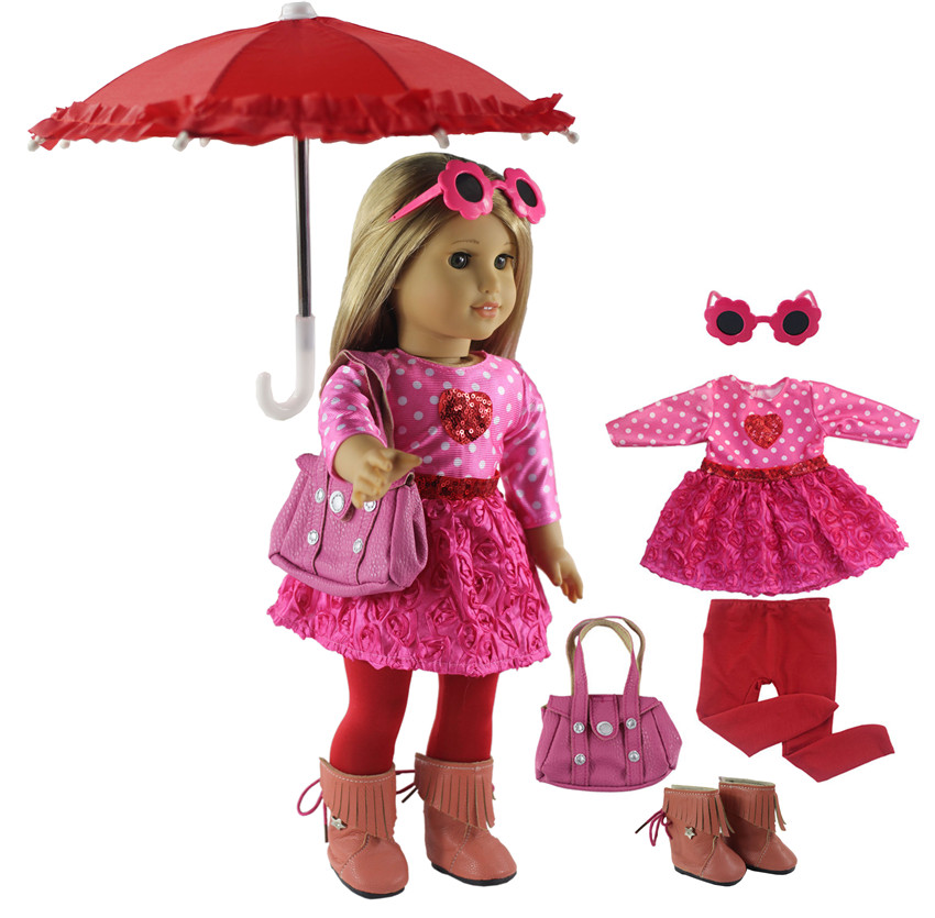 New 1 Set Pink Dress Doll Clothes For 18'' American Bitty Baby Doll Handmade Fashion Lovely Clothes X89