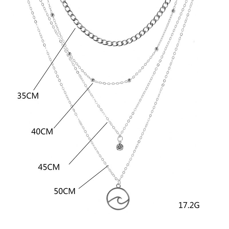 ABDOABDO Multilayer Chain Necklace Ladies Silver Color Bohemian Stainless Steel Pendant Necklace Harajuku Lady Jewelry Collares