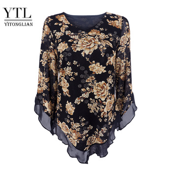 Yitonglian Women Vintage Floral Print Scarf  V Neck Party Butterfly Top Mesh Blouse Plus Size Loose V-hemline Long Shirt H369 1