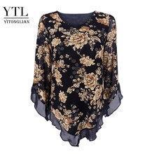 Yitonglian feminino vintage floral impressão cachecol com decote em v festa borboleta topo malha blusa plus size solto v-hemline camisa longa h369