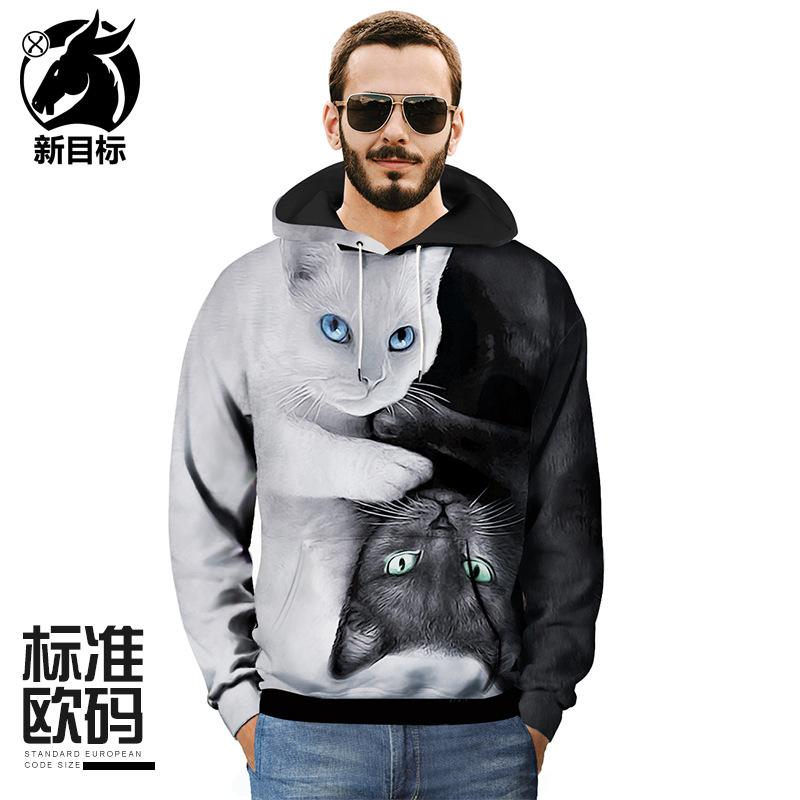 200 Large Size MEN'S Wear Men's Sweatshirts & Hoodies 2019 Autumn And Winter New Style Creative Black And White Cat 3D Printing