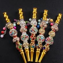 10pcs/lot 145mm long Handmade Inlaid Jewelry Alloy Hookah Mouth Tips Shisha Filt