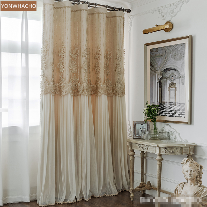 Custom Curtains French Light Luxury  Bedroom Princess Full Blackout  High-end Beige Cloth Blackout Curtain Tulle Drape B765