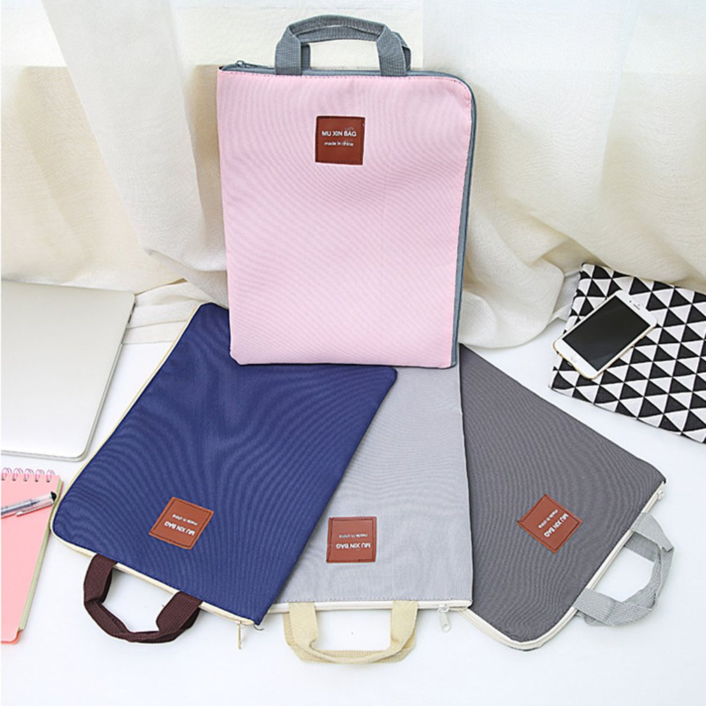 Canvas Documents Bag A4 File Folder With Dual Buckles Filing Bag Waterproof Paper Organizer Office School Stationery Supplies
