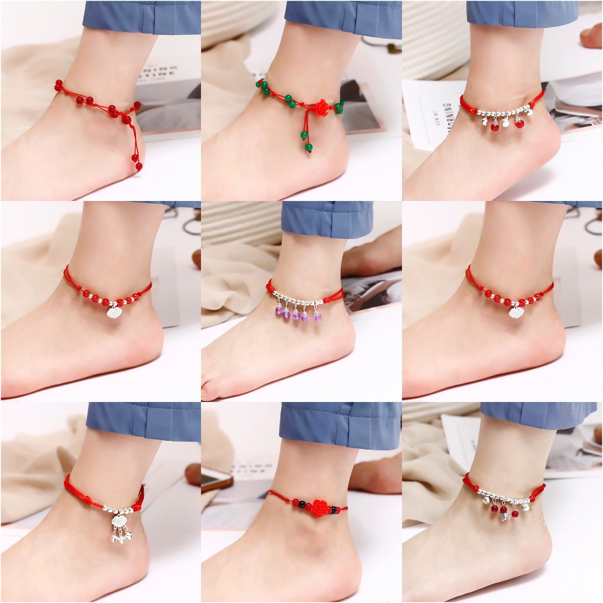 JL61 Korean version simple bell red rope anklet and Handmade national style anklet