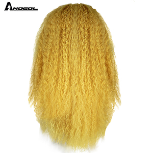 Image 4 - Anogol Yellow Synthetic Lace Front Wig Natural Long Kinky Curly Wig for Women Free Part High Temperature Fiber