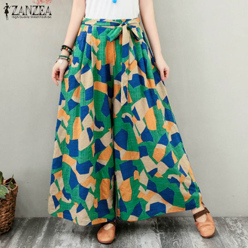 ZANZEA Women Geometric Printed   Wide     Leg     Pants   Vintage Long Trousers Summer Flare   Pants   Lace Up Beach   Pants   Casual Loose Pantalon