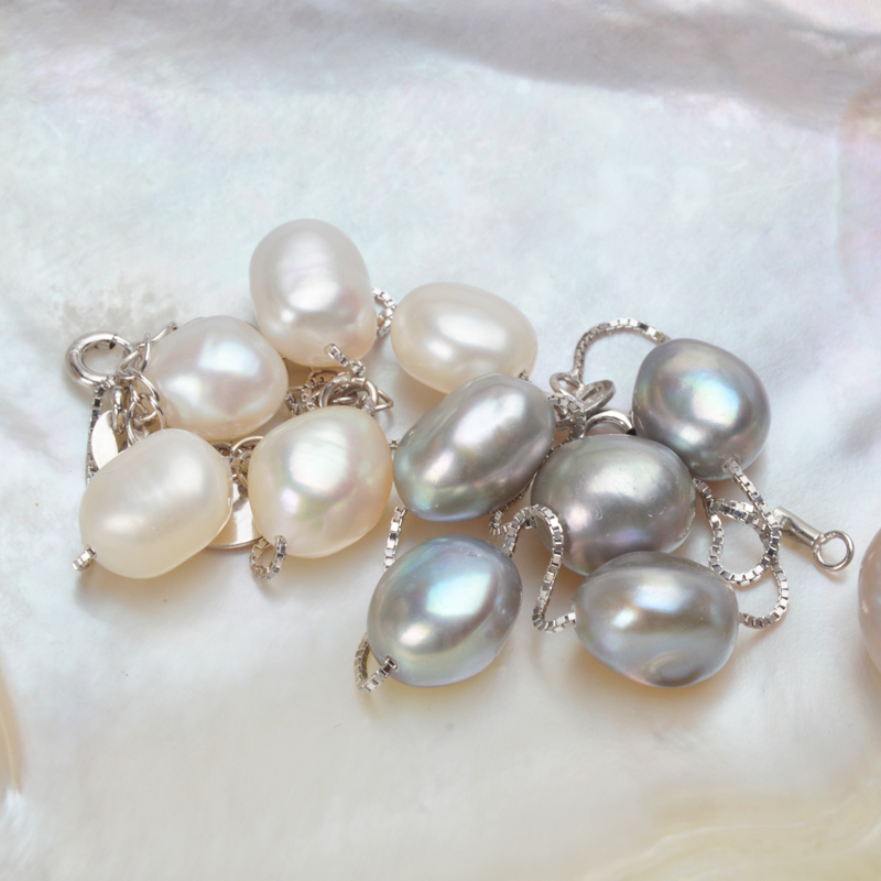 ASHIQI Genuine 925 Sterling Silver Bracelet 8-9mm White Gray Natural Freshwater Baroque Pearl Jewelry For Women