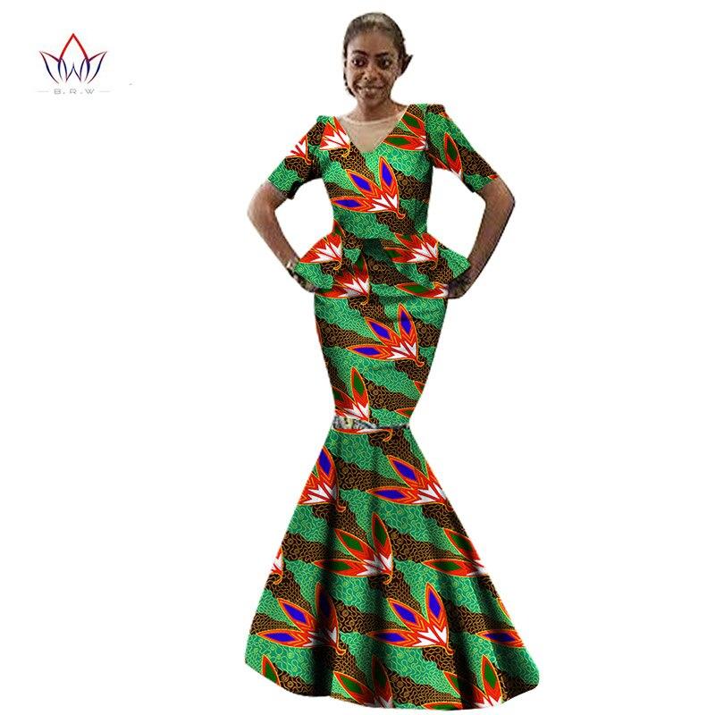 Африканская Женская одежда, повседневное женское Макси платье с коротким рукавом, африканская одежда с принтом, Длинные Вечерние Платья с ц... - 4