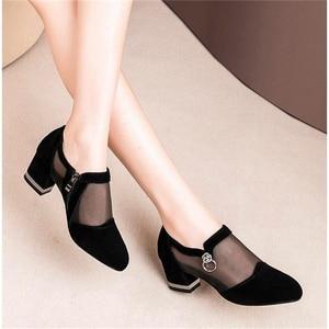 Image 2 - Szpilki Mesh oddychające Pomps Zip Pointed Toe grube obcasy moda damska sukienka buty eleganckie obuwie
