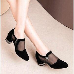 Image 2 - 女性のハイヒールの靴メッシュ通気性pompsジップポインテッドトゥ厚いファッションの女性のドレスの靴エレガントな靴