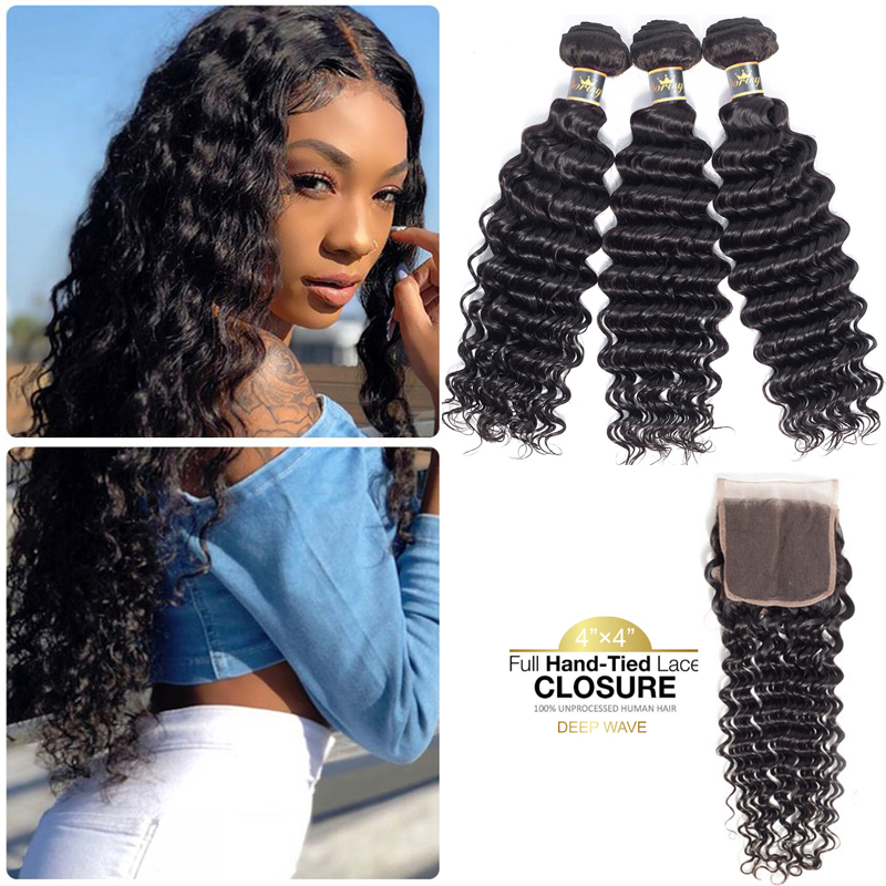 Deep Wave Bundles With Closure Brazilian Human Hair Bundles With Closure Lace Closure With Human Hair Wave Dorisy Non Remy