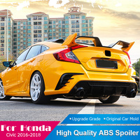 AITWATT Fit For Honda Civic White Spoiler 2016 2017 2018 High Quality ABS Plastic Rear Roof Tail Wing Black Spoiler Car Styling