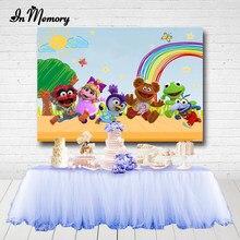 Inmemory muppet bebês festa de aniversário backdrops para estúdio de fotos arco-íris céu azul árvore sol piso madeira fotografia fundos