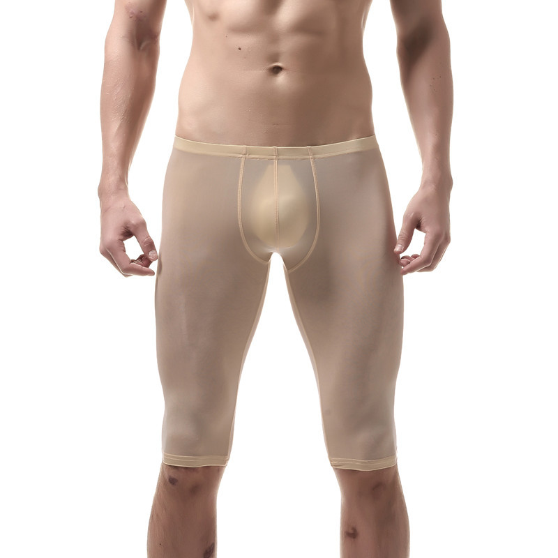Men Pajamas Ice Silk Sheer Transparent Sexy Short Pants Ultra-thin Penis Pouch Male Sleep Bottom Lingerie Gay Nightwear Vetement