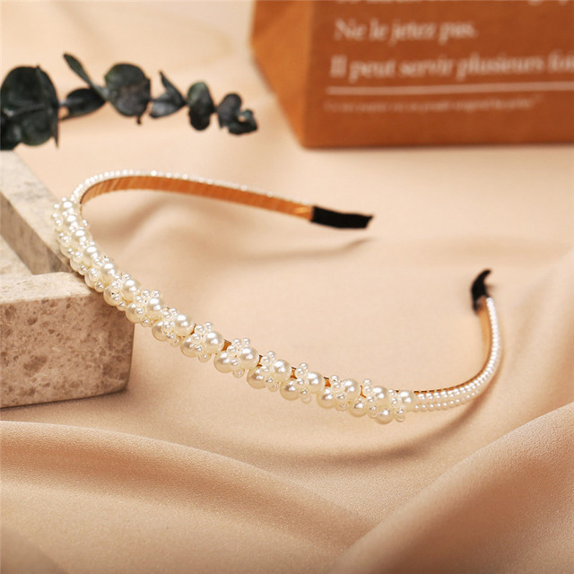 New Women Elegant Full Pearls Simple Hairbands Sweet Headband Hair Hoops Holder Ornament Head Band Lady Fashion Hair Accessories 4