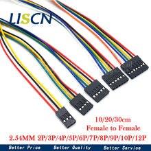 10 pces 2.54mm 2.54 fio dupont linha fêmea para fêmea 1p2 3 4 5 6 7 8 9 10 12 pinos dupont cabo conector cabo jumper fio para pwb