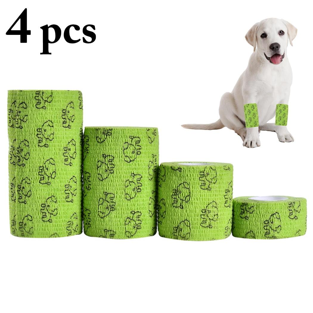 Hot Sell 4pcs font b Pet b font Dog Cat Self adhesive Elastic Bandage Non Woven