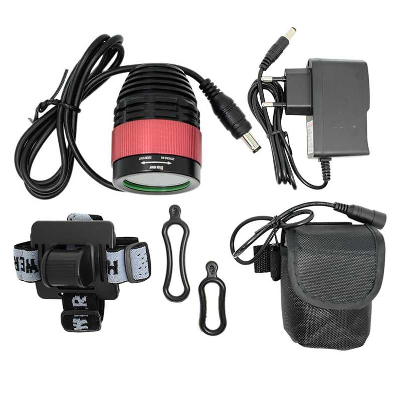 T6 LED Focusing Bicycle Front Light Lamp 4 Modes Bike Headlight Night Riding Cycling Lamp + Battery Pack + Charger + Headband