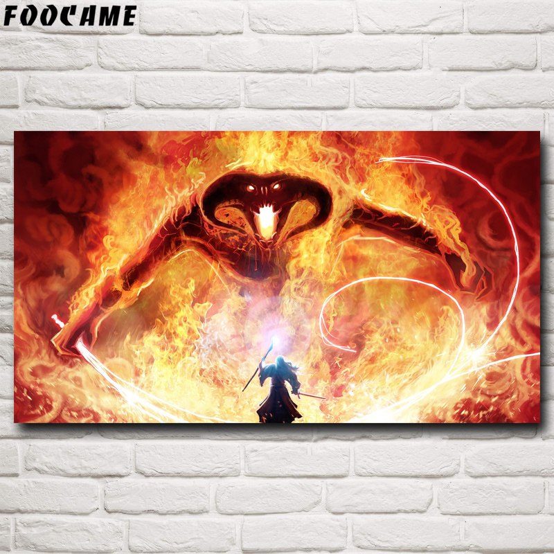 FOOCAME Gandalf The Lord of the Rings Balrog Fantasy Movie Art Silk Posters and Prints Home Wall Decoration Pictures Painting image