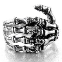 Loredana For Men Retro Punk Metal Finger Bone Men Ring Dark Style Claw Hand Bone Ring