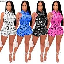 CM.YAYA di Active Wear Set Sexy delle Donne Della Stampa Della Lettera Tuta Shorts Vestito Tuta A Due Pezzi Set Club Streetwear Vestito di Corrispondenza