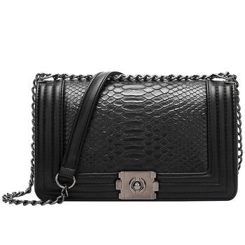 Luxurious women's bag Snake pattern chain bag 2020 single shoulder slant span bag small fragrant wind lady bag