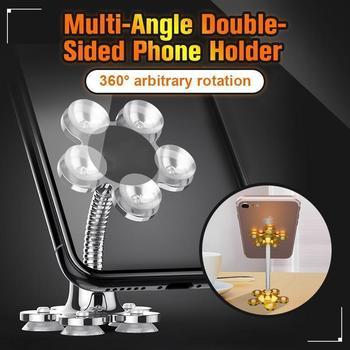 Dwugłowy przyssawka magiczny uchwyt na telefon komórkowy obrotowy wielokątny dwustronny uchwyt na telefon biurko na stół telefoniczny tanie i dobre opinie CN (pochodzenie) Z tworzywa sztucznego