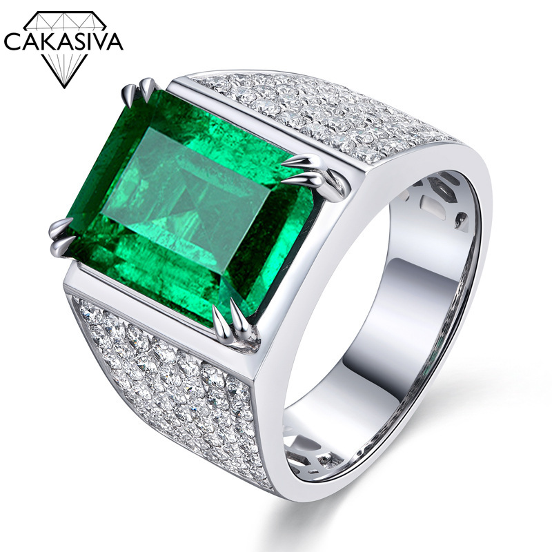 925 Sterling Silver Emerald Men's Open Ring Vintage Punk Jewelry Gifts Wholesale Gemstone Jewelry