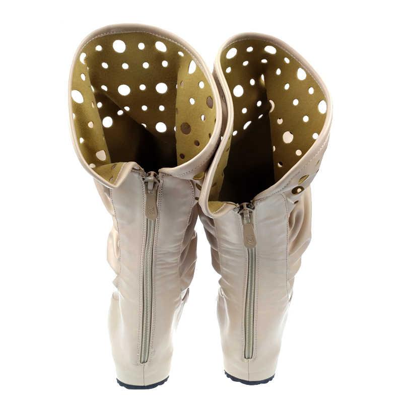 Gladyatör yeni roma Punk moda bayan rahat düz sandalet PU deri sırt fermuar Hollow yaz çizmeler bej renk