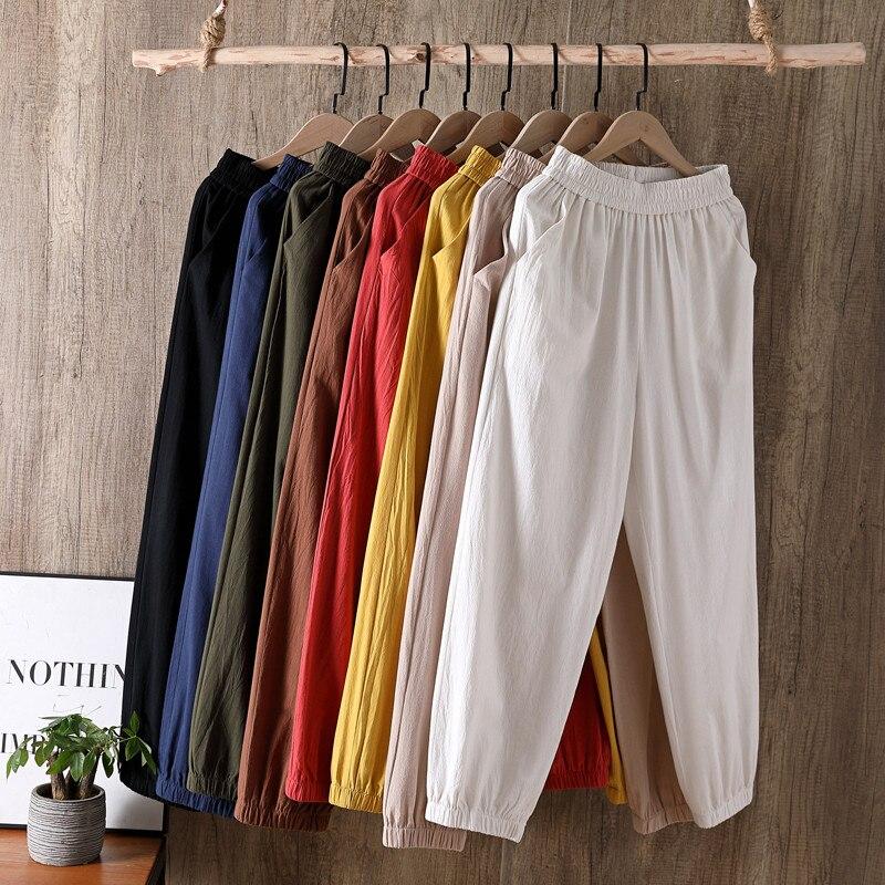 Fashion Womens Jogging Cargo Pants Trousers High elastic wasit cotton linen Pants Joggers plus size Sweatpants Capris M-6XL 7XL