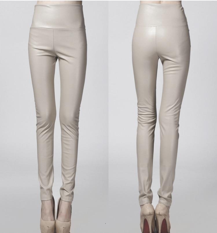 2019 Women Leather Pants thin spring autumn high waist Slim elastic PU pencil pants for woman black white