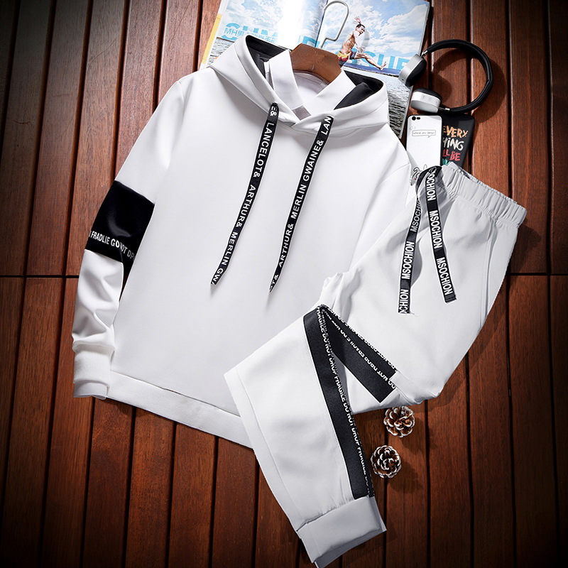 MEN'S Hoodie Hooded Korean-style Trend Autumn & Winter Handsome Coat A Set Of Male STUDENT'S Clothes Leisure Sports Suit