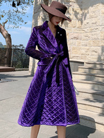 Purple Long Cotton Padded Parkas Coat Women Winter Double Breasted Belted Slim Work Office Thick Warm Velvet Skirt Parkas