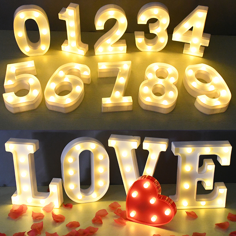 26 Alphabet Letter LED Light 3D Number Battery Lamp Marquee Sign Night Light For Wedding Birthday Party Deco Home Bedroom Supply