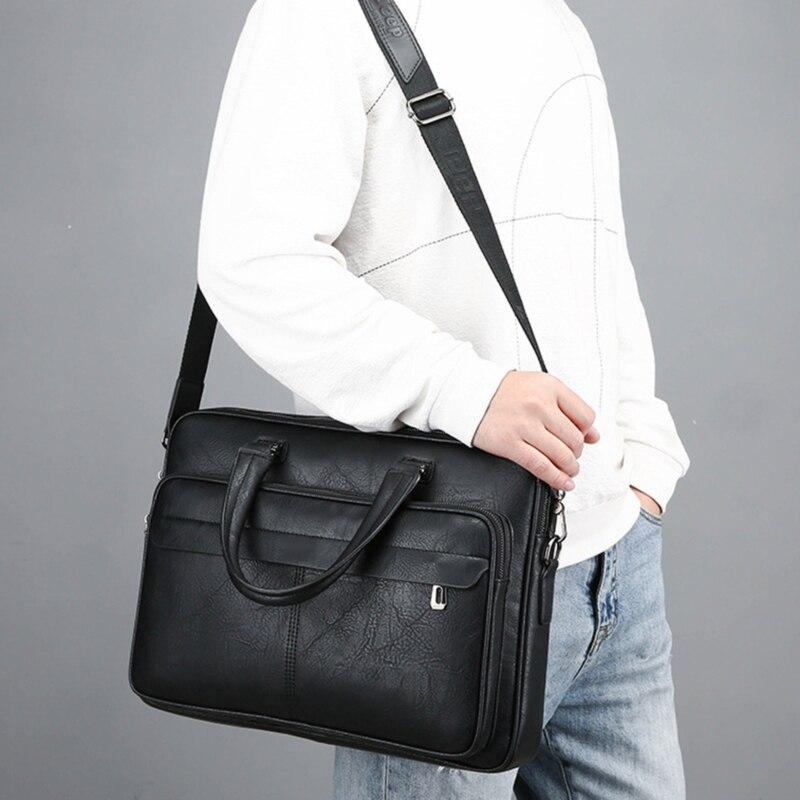 LKEEP Men Briefcase Bag High Quality Business Famous Brand Leather Shoulder Messenger Bags Office Handbag Laptop
